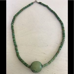 Old Sterling Green Turquoise Heishi Style Necklace